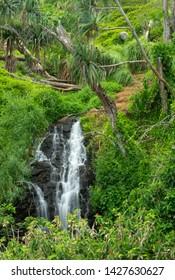 Tropical Waterfall Near Queen's Bath On Kauai