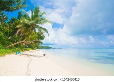 Tropical white beach and blue ocean, Ngaraard state, Palau, Pacific