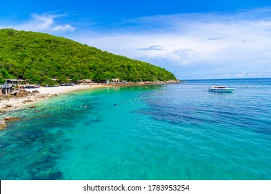Tropical white sand beach and sea at sangwan beach on larn island, Pattaya City, Chonburi, Thailand