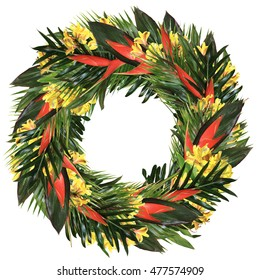 Tropical wreath with real heliconia, yellow alstroemeria, ti and palm leaves