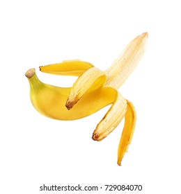 tropical yellow bananas isolated white background