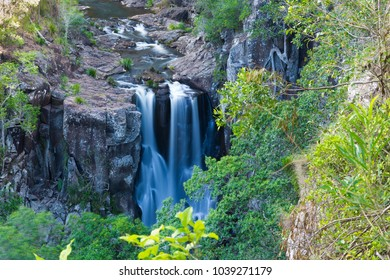 Tropiccal forest waterfall in Gold Coast hinterland, Queensland, Australia