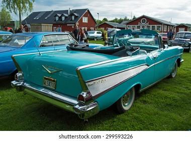 TROSA SWEDEN, 16 JULI 2015. CHEVROLET BEL AIR Yer 1957.