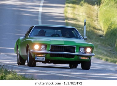 TROSA SWEDEN, July 11, 2019. BUICK, Year 1972, driving on a country road.