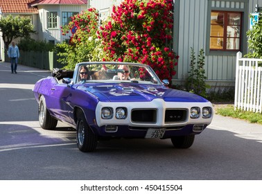 TROSA SWEDEN July 7 2016. PONTIAC GTO CONVERT Year 1970. On the way to a veteran car meeting in the small town Trosa in Sweden.