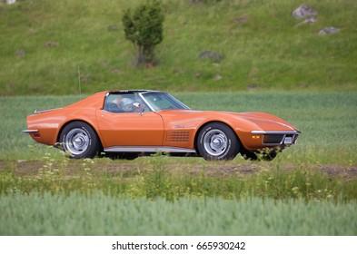 TROSA SWEDEN June 22, 2017. Chevrolet Corvette in 1972.