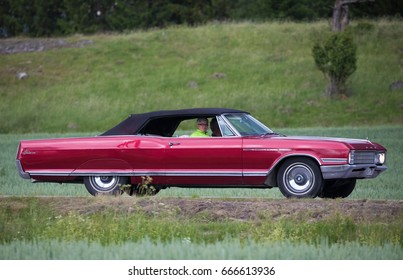 TROSA SWEDEN June 22, 2017. Buick Electra Custom, year 1966, Dark red