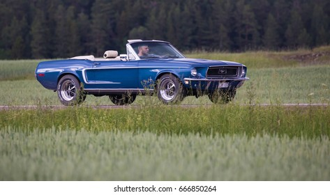 TROSA SWEDEN June 22, 2017. Ford Mustang, year 1968, Blue, Convertible.