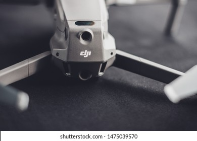 Trostyanets, Ukraine - August 1, 2019: Closeup of DJI Mavic 2 Pro, on a black background, DJI Mavic 2 Pro is one of the most portable drones on the market, with a Hasselblad camera.