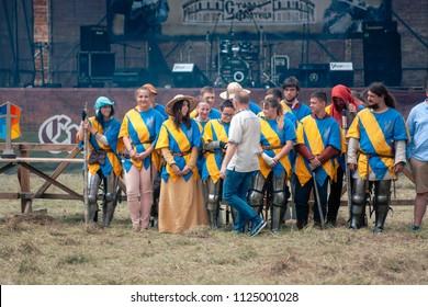 TROSTYANETS, UKRAINE - JUNE 30, 2018: unidentified people on knights tournament festival