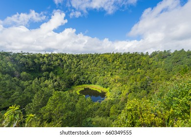 Trou Aux Cerf Volcano Curipipe in the tropical island jungle of Mauritius
