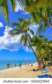 Trou-aux-Biches, Mauritius - Jan 4, 2017. Seascape of Trou-aux-Biches, Mauritius. Trou-aux-Biches is a small town with a public beach on the northern coast of Mauritius.