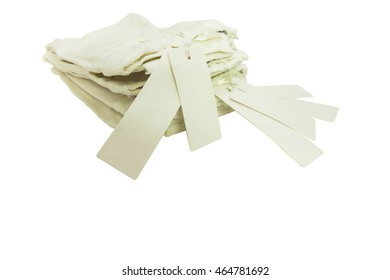 A trousers white jeans clothes show and hang a label tag for sale in retail shop on isolated background.