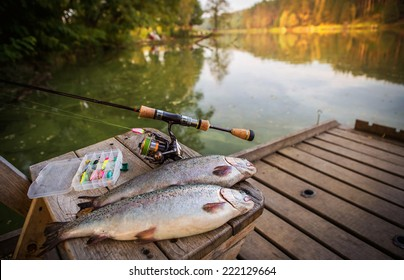 trout area fishing. blurred background