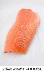 trout fillet on white background