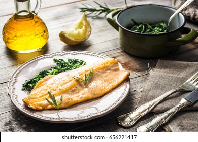 Trout fillet with spinach