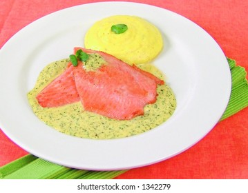 Trout fish filet with watercress sauce with mashed potatoes