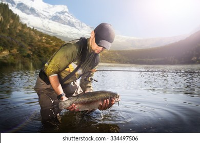 Trout-fishing on mountain river