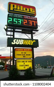 TROUTVILLE, VIRGINIA - JUNE 24: Pilot truck stop and gas station sign advertising prices on June 24, 2009 in Troutville, VA. Pilot Travel Centers company is based in Knoxville, Tennessee.