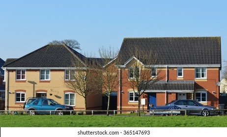 TROWBRIDGE, UK - JAN 20, 2016: View of houses on a residential estate. New home buyers in the UK are facing a shortage of affordable homes despite government schemes to increase housing stock.