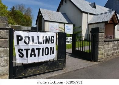 Trowbridge, UK - May 5, 2016:  View of a polling station at a church. Voters are electing members for the Scottish Parliament, Welsh Assembly, Northern Ireland Assembly and Local Councils in England.