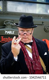 Trowbridge, Wiltshire, UK - June 27, 2015: Winston Churchill impersonator Arthur Cook at the annual Wiltshire Armed Forces and Veterans Weekend held at the Trowbridge Town Park