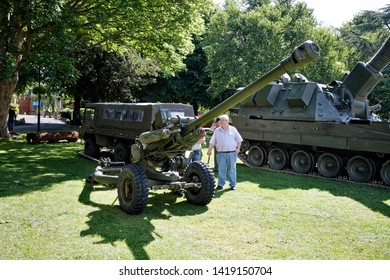 Trowbridge, Wiltshire / UK - June 27 2015: A Royal Artillery L118 Light Gun and AS90 at the Wiltshire Armed Forces and Veterans Weekend, Trowbridge, Wiltshire, United Kingdom, 27th June 2015.