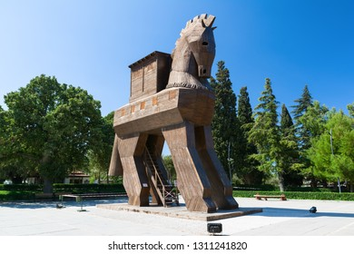 TROY, CANAKKALE, TURKEY - AUGUST 25, 2017: Wooden Trojan Horse in the Ancient City of Troy, Turkey.