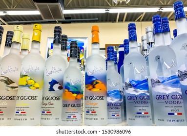 TROY, MICHIGAN, USA - SEPTEMBER 28, 2019: Grey Goose vodka bottle. Grey Goose is a premium vodka brand produced in France
