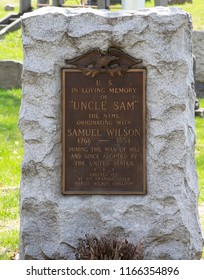 """Troy, NY, USA - April 26,2013: Grave of USA Symbol """"Uncle Sam Wilson"""" in the Oakwood Cemetery on April 26,2013 Troy, NY, USA"""
