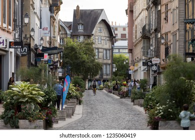 Troyes, France - August 31, 2018: View of old town in Troyes - capital of Aube department in Champagne region. France. Many half-timbered houses (mainly of 16th century) survive in old town