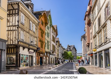 TROYES, FRANCE - MAY 17, 2014: Troyes typical architecture of old city: many half-timbered houses (from XVI century). Troyes - capital of Aube department (Champagne region) in north-central France.