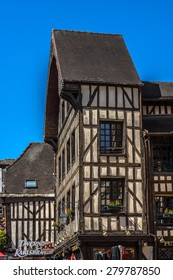 TROYES, FRANCE - MAY 17, 2014: View of beautiful ancient half-timbered house (mainly of 16th century). Troyes is a commune and capital of Aube department (Champagne region) in north-central France.