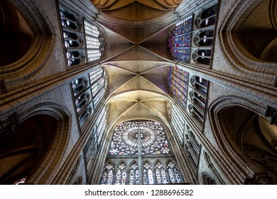 TROYES, FRANCE, SEPTEMBER 09,  2018 : interiors and details of the cathedral, september 09, 2018, in  Troyes, France