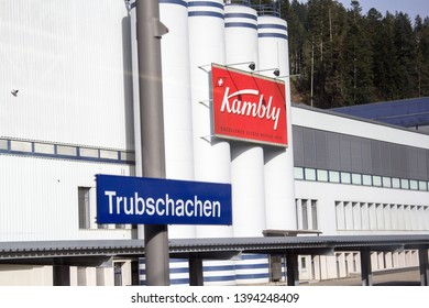 Trubschachen, Switzerland - April 22.2019: Factory of Kambly at the railway station Trubschachen in Emmental, Canton Berne. Kambly is the Switzerland's largest biscuit producer and leading exporter.