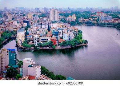 Truc Bach Lake Hanoi Vietnam. The lake is is the spot where Senator John McCain was captured after being shot down in the Vietnam war in 1967.