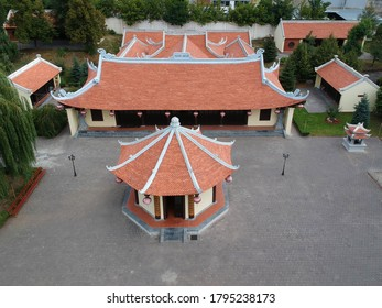 Truc Lam Temple, It is traditional buddhist temple in Kharkiv, Ukraine. Aerial view from the drone
