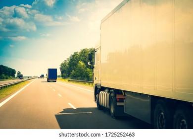 Truck/ 18-wheeler on a highway