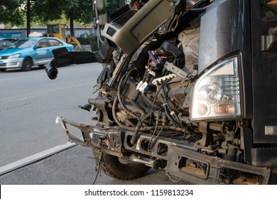 Truck with an accident