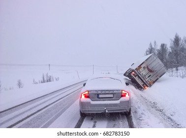 Truck accident on a snowy road in Norway