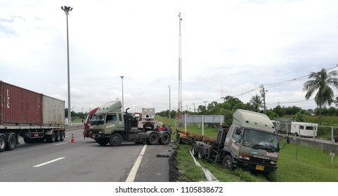 Truck accidentally went into a Roadside dith ; Road no 9 motor way Km 32  ; Thailand 28 May 2018