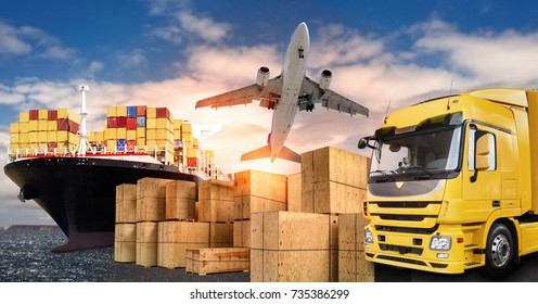 Truck, airplane and ship with carrier boxes as a symbol for international trade