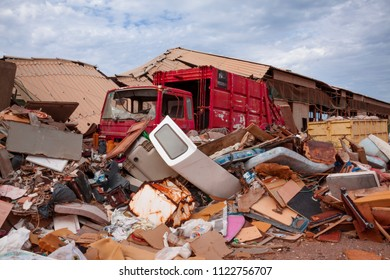 Truck among garbage