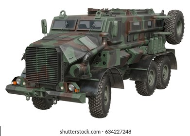 Truck army camouflaged vehicle armored machine. 3D rendering