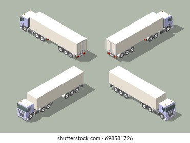 Truck with box semi-trailer in four views isometric icon graphic illustration design. Infographic elements