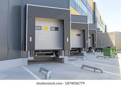 Truck at Cargo Dock Bay Distribution Warehouse