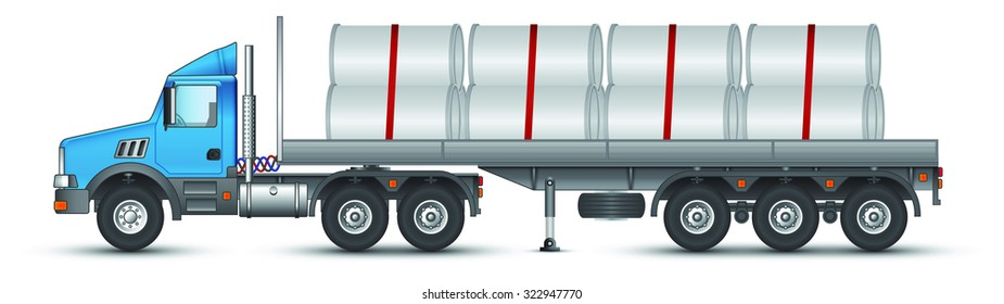 Truck carrying concrete pipes