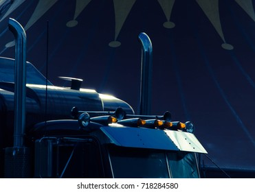 Truck with chrome against dark blue background