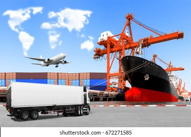 Truck container commercial delivery cargo and container ship being unloaded with air plane on the sky at the harbor with clouds in shape of world map concept for transportation around the world