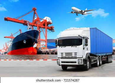 Truck container commercial delivery cargo and container ship being unloaded with air plane on the sky at the harbor.logistics and transportation concept